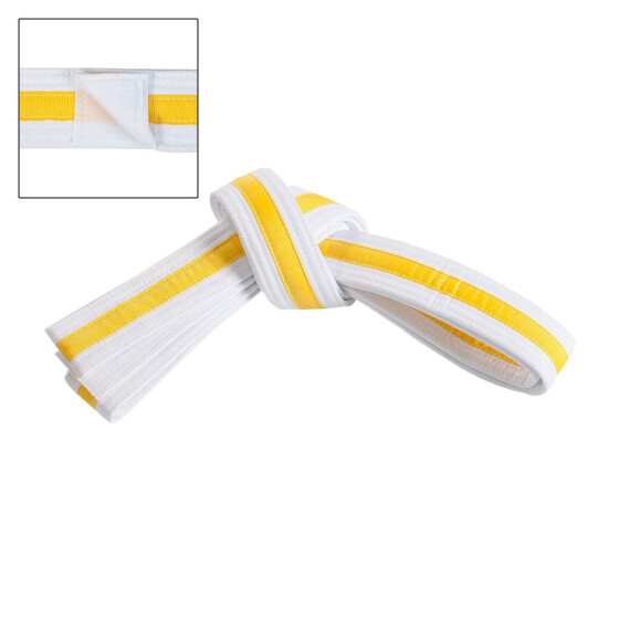 Double Wrap Striped White Belt